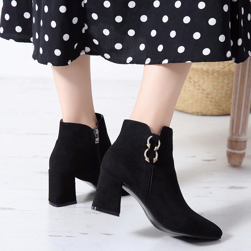 2019 Spring Autumn Women Boots New Fashion Casual Ladies Flock Short Boots Female Middle Heeled Boots M8D261 (30)