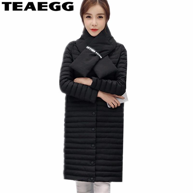 TEAEGG Black High Quality White Duck Down Winter Jacket Women Coat Parkas 2017 Fashion Slim Warm Long Womens Down Jackets AL198