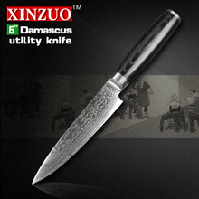 cocx 5″ inches Utility knife Damascus kitchen knife Japanese VG10 Universal fruit paring knife with Micarta handle FREE SHIPPING