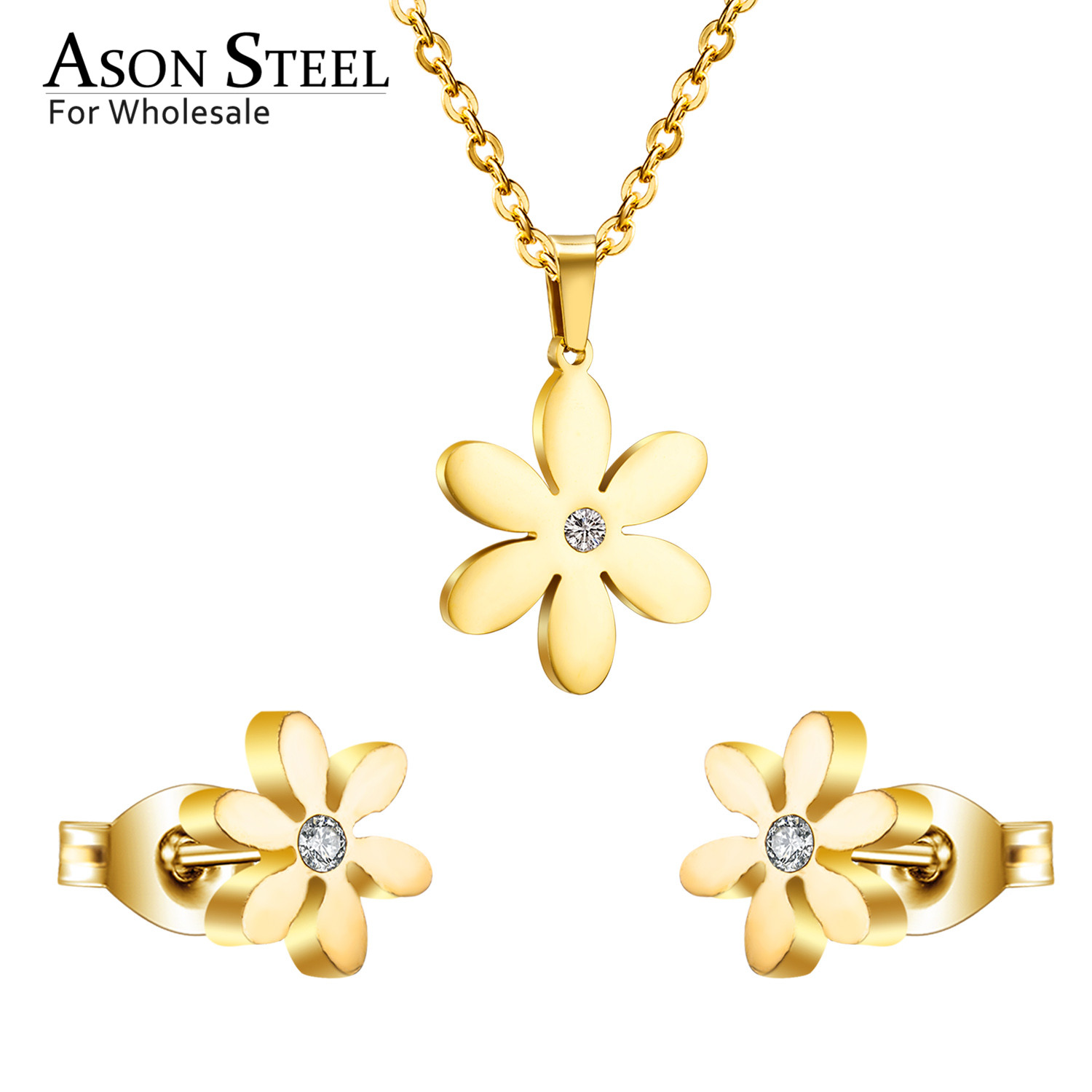 ASONSTEEL <font><b>Jewelry</b></font> 316L Stainless Steel Gold Color <font><b>Jewelry</b></font> <font><b>Sets</b></font> <font><b>for</b></font> Women <font><b>2019</b></font> Flower Pendant Necklace Small Earrings <font><b>for</b></font> Femme image