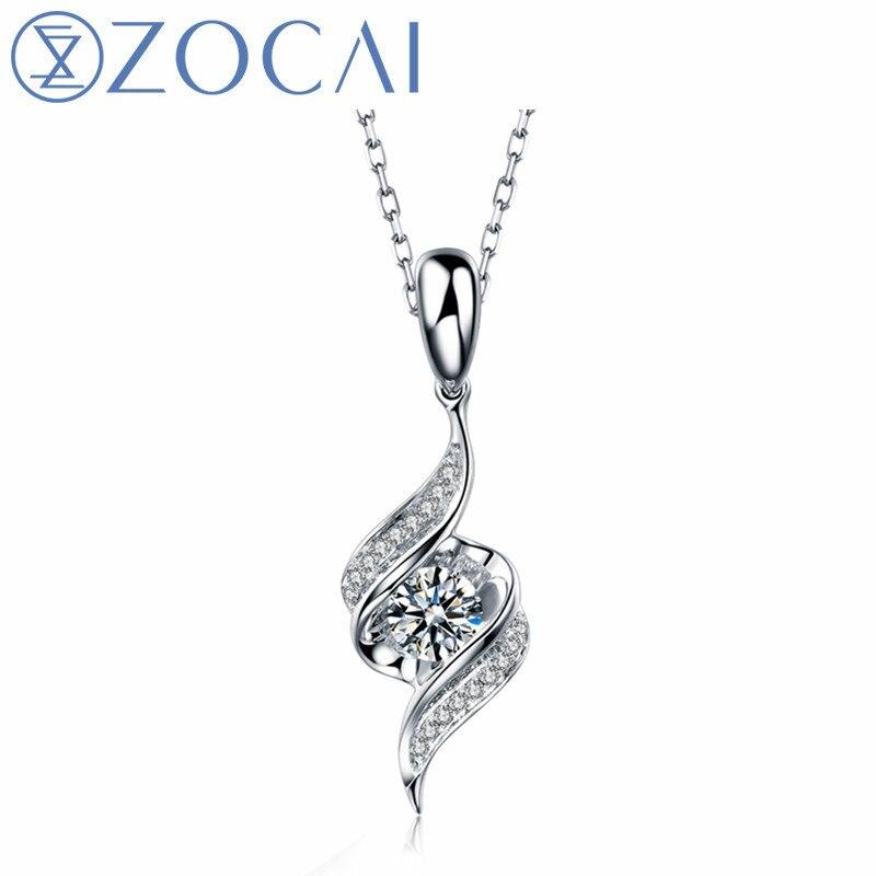 ZOCAI Encounter 0,11 ct přírodní diamant 18K přívěsek z bílého zlata + 925 stříbrný řetízek jako dárek D04461