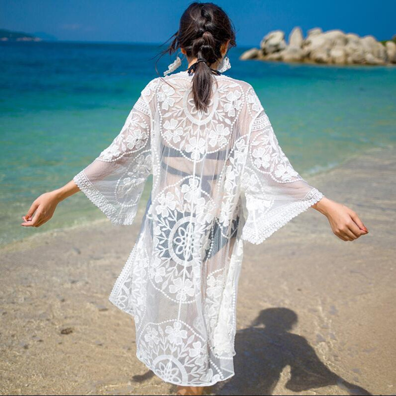 Summer Beach Long Cover Up Women Swimming Wear Lace Cover-ups See Through Mesh Beach Wear Dress Bikini Cover Swimming Suit Dress