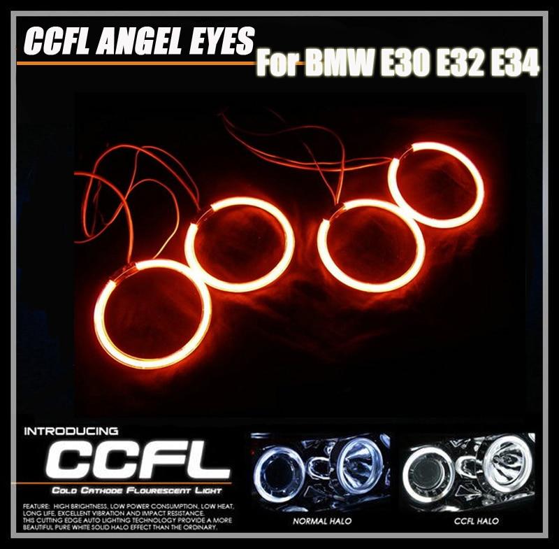 Super Bright Colorful CCFL Angel Eyes for BMW E30 E32 E34 Halo Ring Car Angel Eyes Driving DRL Fog Light Kit Red Green White 4pcs 120mm ccfl headlight halo angel demon eyes kit angel eyes light for bmw e30 e32 e34 1984 1990