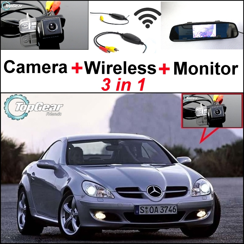 Special WiFi Camera + Wireless Receiver + Mirror Monitor Rear View Back up Parking System 3 in 1 For Mercedes Benz MB SLK R171 for ford escape maverick mariner car parking sensors rear view back up camera 2 in 1 visual alarm parking system
