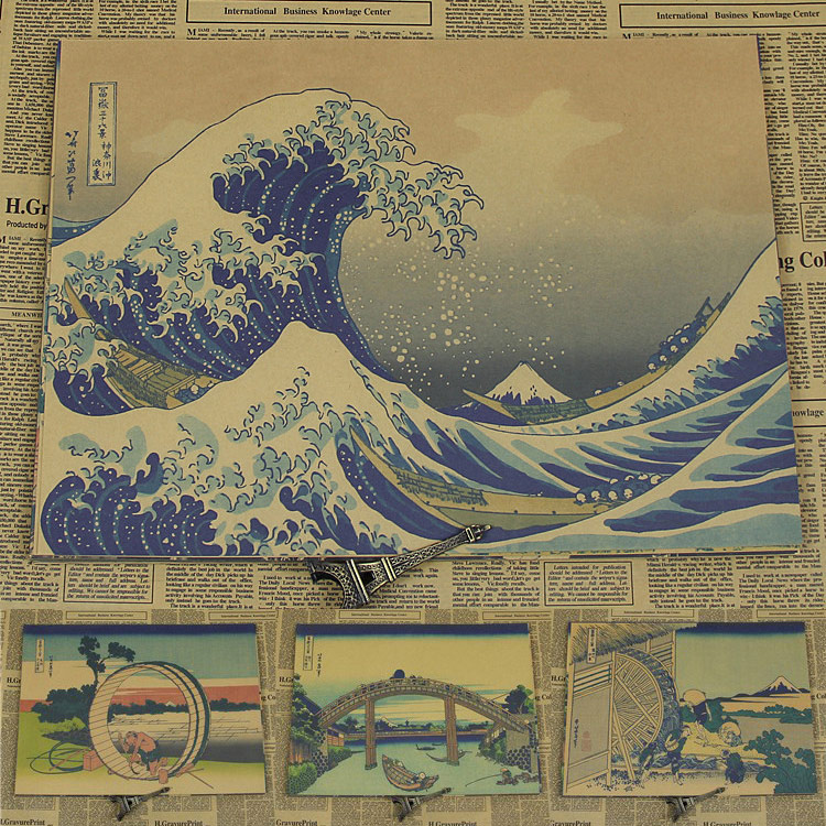 Vintage Paper Retro poster anime de Kanagawa resaca ukiyoe Japonés-Carteles cudi