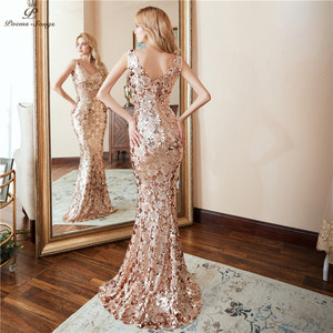 Image 2 - Poems songs Double V neck Evening Dress vestido de festa Formal party dress Luxury Gold Long Sequin prom gowns reflective dress