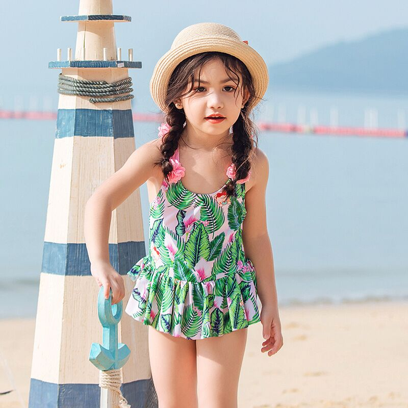 New-One-piece-swimming-suit-toddler-kids-children-swimwear-beach-wear-Flowers-Print-Tropical-Palm-Summer