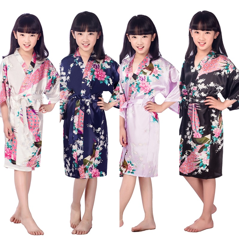 D1686 New Kid Silk floral Robe Kimono Robes Bridesmaid Flower Girl Dress  Children Bathrobe Sleepwear Baby e9f836fba