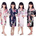 D1686 New Kid Silk floral Robe Kimono Robes Bridesmaid Flower Girl Dress Children Bathrobe Sleepwear Baby Clothes Dressing Gown