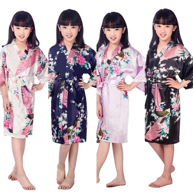 c3c81c61f D1686 New Kid Silk floral Robe Kimono Robes Bridesmaid Flower Girl ...