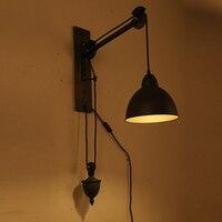 Sombra de ferro Luzes de leitura lâmpadas de parede braço oscilante ajustável e27/e26 candeeiro para sala de trabalho quarto lâmpada de Parede Industrial Do Vintage|wall lamp light|swing arm|reading wall lamp -