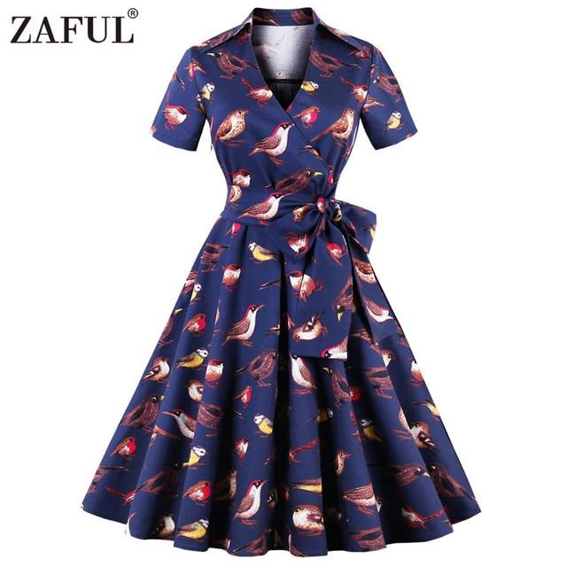 90d253cc4 ZAFUL Plus Size Birds Print Vintage Dress Feminino Vestidos Women Retro  Rockabilly Robe High Waist Belted A-Line Party Dresses