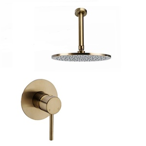 Image 3 - Solid Brass Brushed Gold Bathroom Shower Set Rianfall Shower Head Shower Faucet Wall Mounted Shower Arm Mixer Water Set