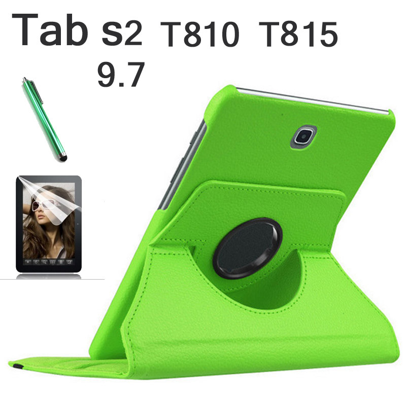 360 Rotation de luxe PU couverture En Cuir cas Pour Samsung Galaxy Tab S2 9.7 T810 T815 flip stand smart case + tylus + protection film