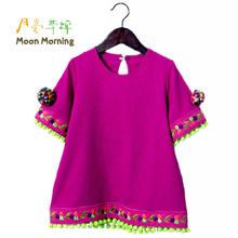 Moon Morning Girls Dresses Linen Flower Patches Chinese Short Sleeve Meisjes Clothing 2T~12T Flower Patch O-neck Summer Clothes