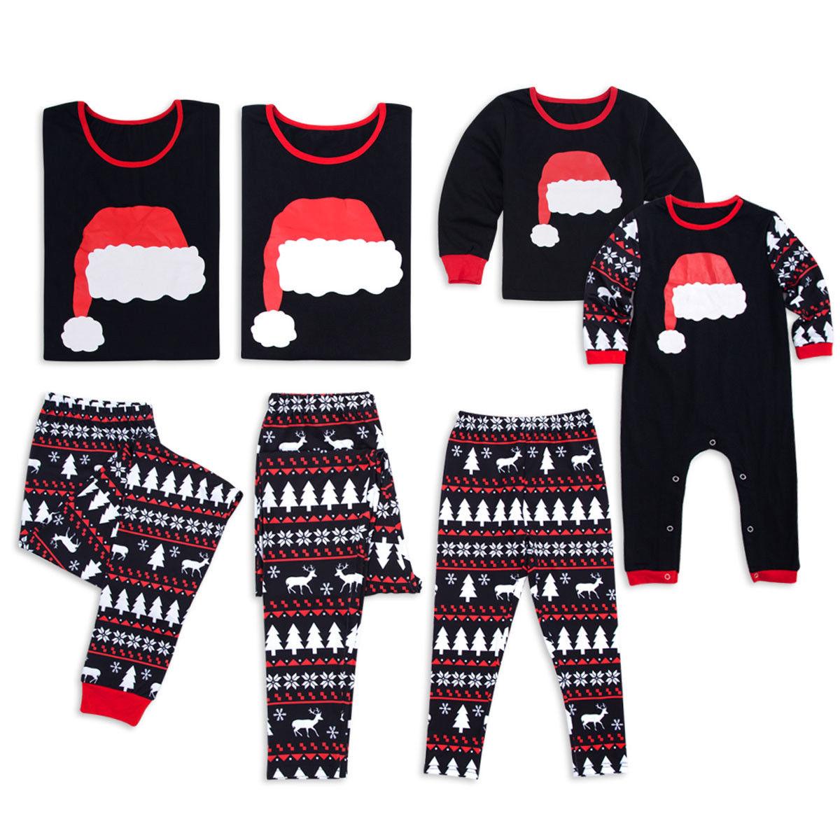 2018 Family Matching Kids Womens Christmas Pajamas Sets Xmas Long Sleeves Sleepwear Nightwear Warm Set