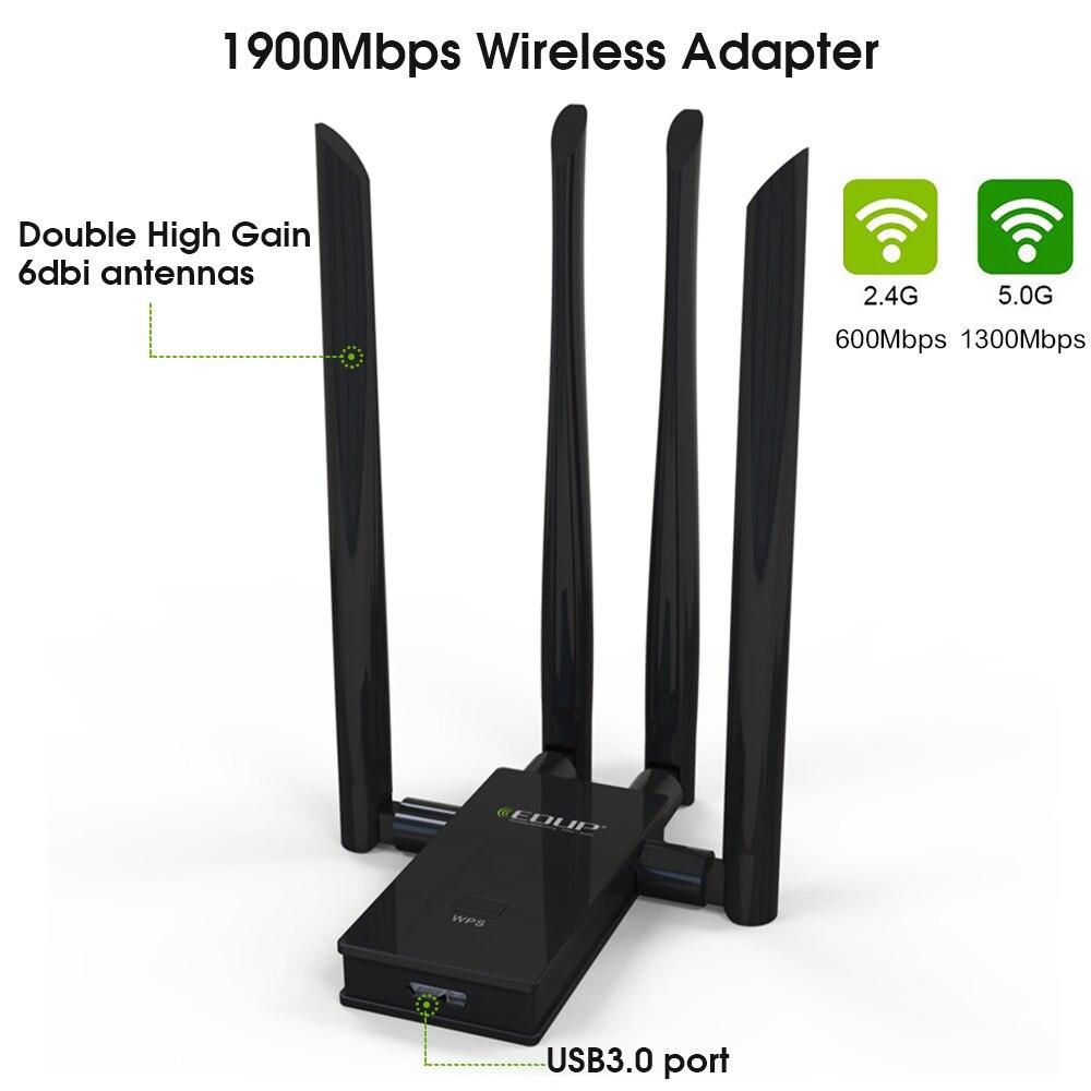 EDUP 5Ghz USB WiFi Network Card 1900mbps dual band 802.11ac USB 3.0 High Speed USB Adapter High Gain 4*6dbi Antenna
