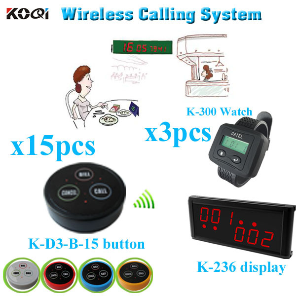 Wireless Bell Button Order Service   with  monitor pager  transmitter  (1 display receiver+ 3 watch +15 table bell button)