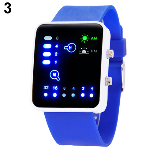 Popular Mens Womens Binary Number Blue LED Wristwatches Silicone Band Quartz Wrist Watch NO181 5V4Y C2K5W