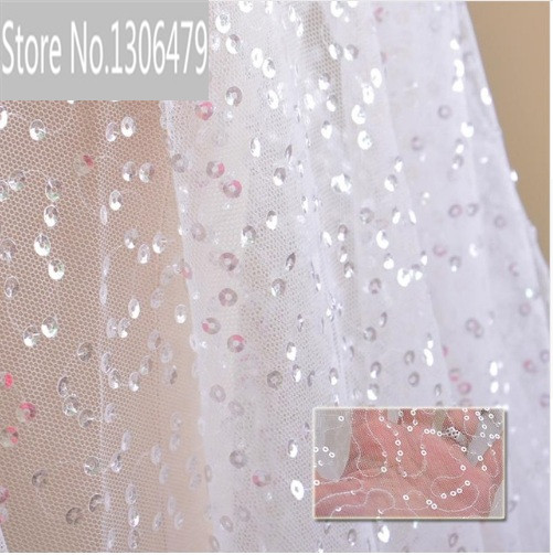 Free Shipping Imports White Sequins Embroidered Mesh Lace Fabric, Lace Wedding Dress Fashion Wedding Decoration Fabric RS41