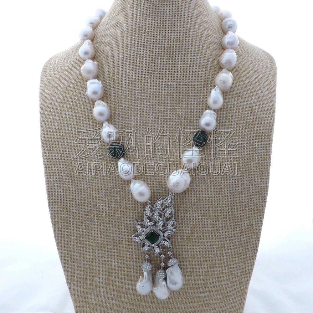 N121905 22 White Keshi Pearl Necklace CZ Pendant n121905 22 white keshi pearl necklace cz pendant