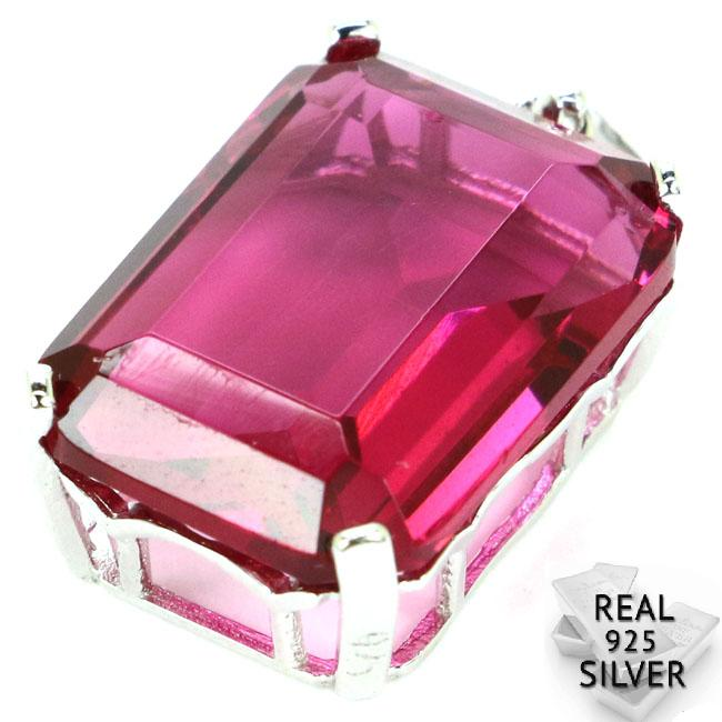 Guaranteed Real 925 Solid Sterling Silver 3.7g Deluxe Top 18x13mm Pink Tourmaline Ladies Pendant 28x13mm