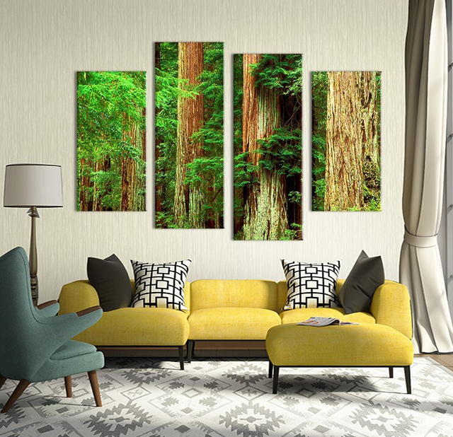 Us 19 98 4pcs Nature Old Vintage Tree Landscape Wall Painting Print On Canvas For Home Decor Ideas Paints On Wall Pictures Art F In Painting