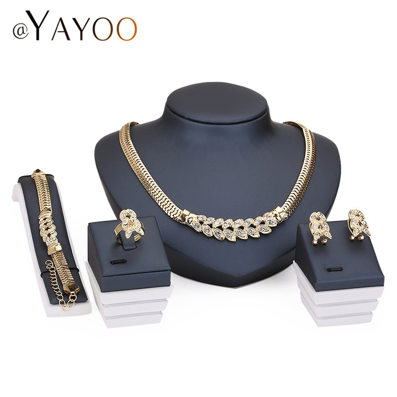 African Beads Wedding Accessories Jewelry Sets Summer Style Fine Crystal Gold Plated Bridal Necklace Bracelet Earrings Rings Set