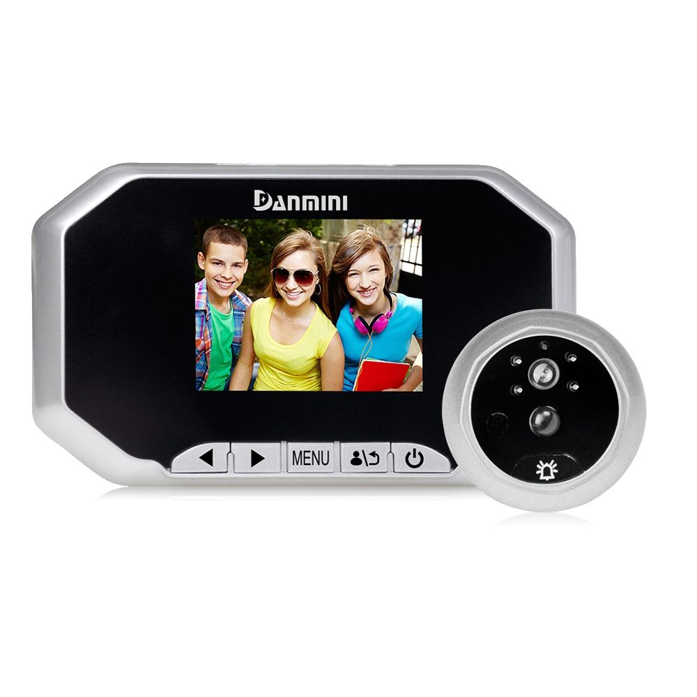 DANMINI 3.0 pollice Digitale LCD Campanello Visore di Peephole Camera Viewer PIR Motion Detection Porta Eye Video Record di Visione Notturna (silvDANMINI 3.0 pollice Digitale LCD Campanello Visore di Peephole Camera Viewer PIR Motion Detection Porta Eye Video Record di Visione Notturna (silv