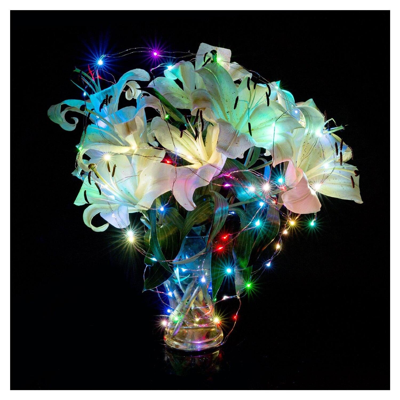 Светодиодный свет шнура Медный провод Спальня светодиодный фея Звездное для сада Путь новогодняя елка Decora (20 светодиодный s, красочные, 7FT)