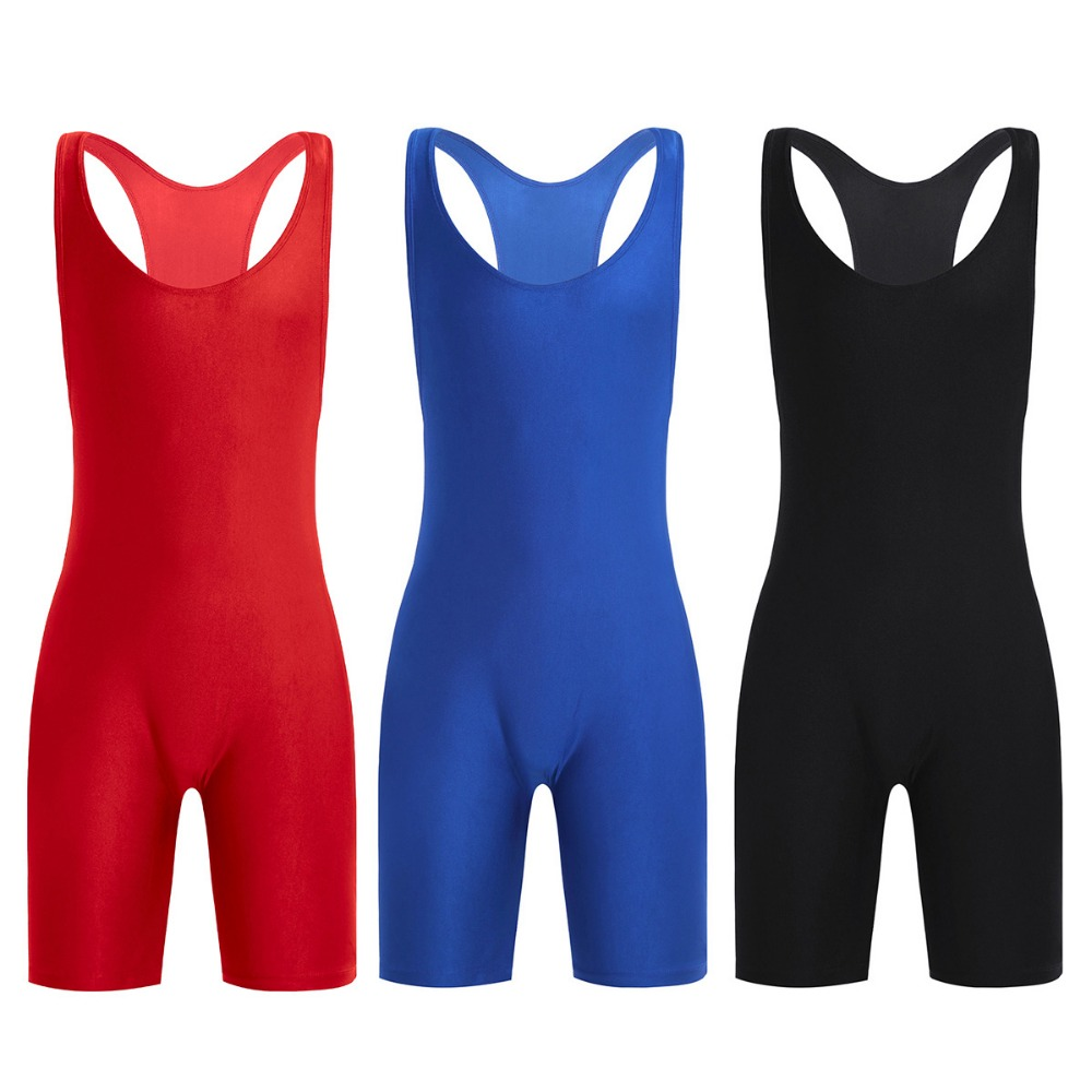 iEFiEL Mens One-Piece Sleeveless Solid Modified Wrestling Singlet Boxer Briefs Tight Bodysuit