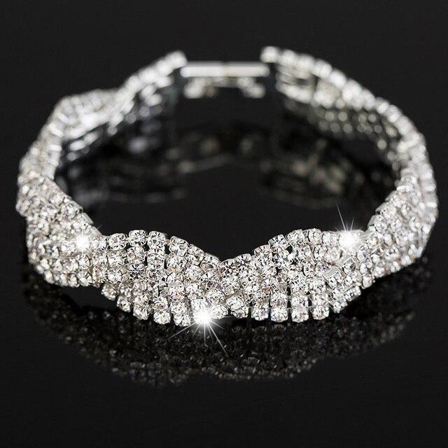 Luksusowe Ślubne Austrian Kryształowe Bransoletki Dla Kobiet Charm Przyjaźń Ręcznie Łańcucha Bransoletki Bangles Biżuteria Pulseira Feminina 2017