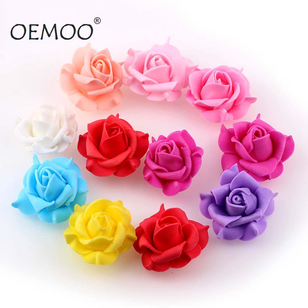 20Pcs 3.5cm Mini PE Foam Roses Multi-use Artificial Flower Heads Handmade DIY Wreath Wedding Decoration Home Garden Supplies