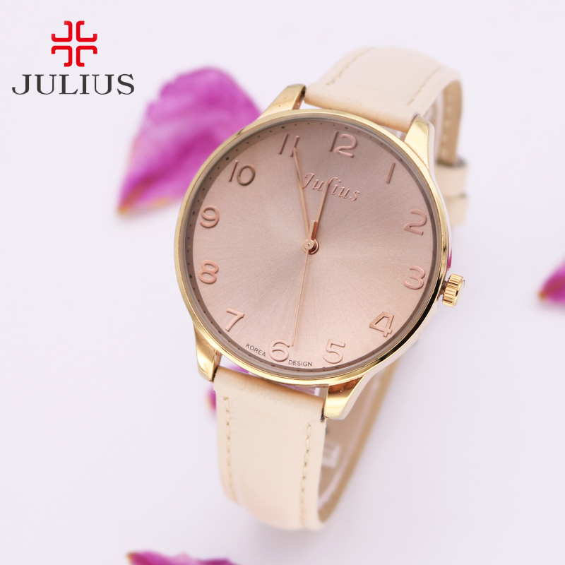 Julius Lady Women's Watch Japan Quartz Hours Top Fashion Dress Simple Bracelet Band Big Leather School Girl Birthday Gift Box top julius lady women s watch japan quartz elegant rhinestone large number fashion hours dress bracelet leather big girl gift