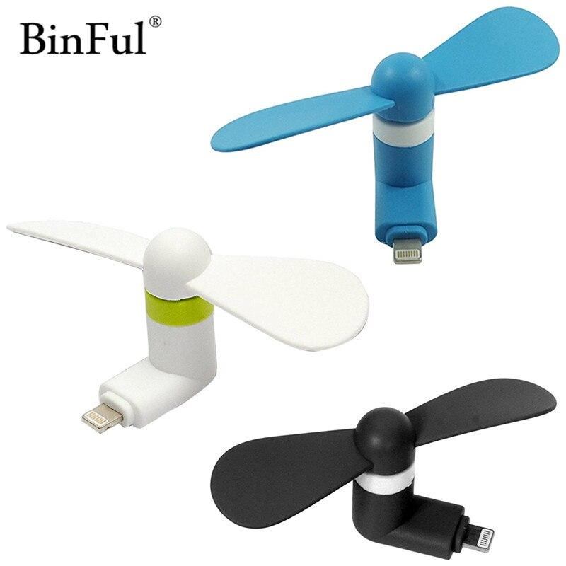 BinFul Hoge Kwaliteit Draagbare gadget Telefoon Mini Elektrische Ventilator Cooler Voor iPhone 5/5 s/5c/SE/6/6 plus/6 s/6 s plus/6 s/7/7 plus/8 Meer