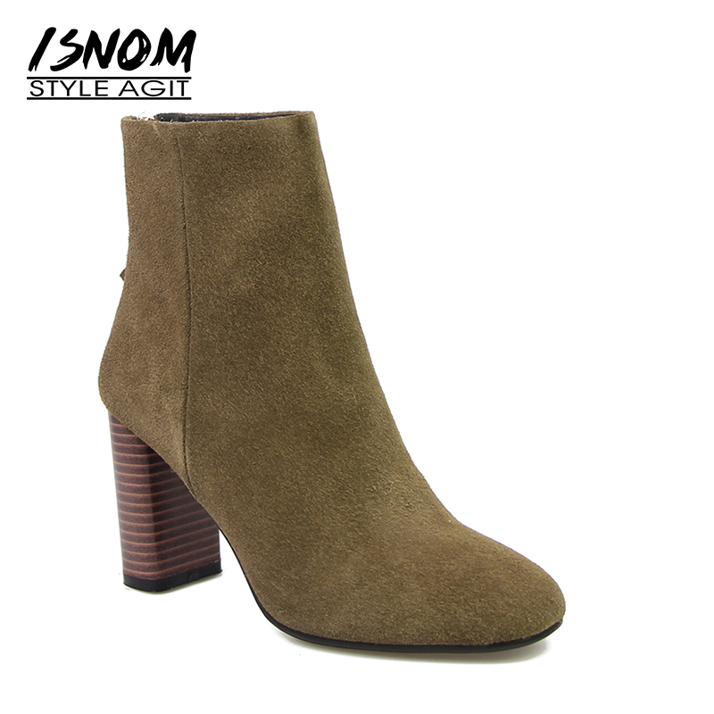 Brand Charming Ankle Boots Genuine Leather Suede Autumn Winter Boots Sexy Square High Heel Women Shoes Back Zip Female Shoes 2017 new fashion lace up women boots genuine leather square heel black autumn winter sexy brand ladies ankle boots women shoes