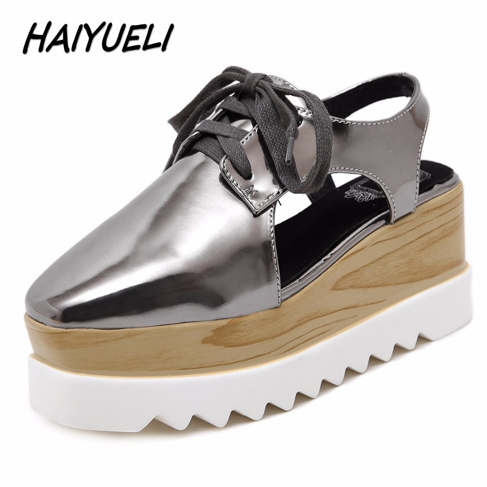 HAIYUELI New women casual shoes woman square toe fashion high heels wedge platforms slingback Thick bottom star sandals shoe new fashion women casual shoes women sandals 2016 thick high square heels sandals black flock pumps