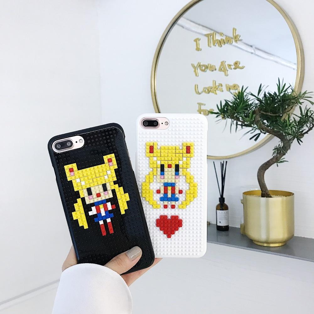 Dynamisch Voor Iphone 6 6 S 7 8 Plus X Xs Max Xr Mobiele Telefoon Case Lego Diy Persoonlijkheid Puzzel Schoonheid Meisje Shell Limpid In Zicht
