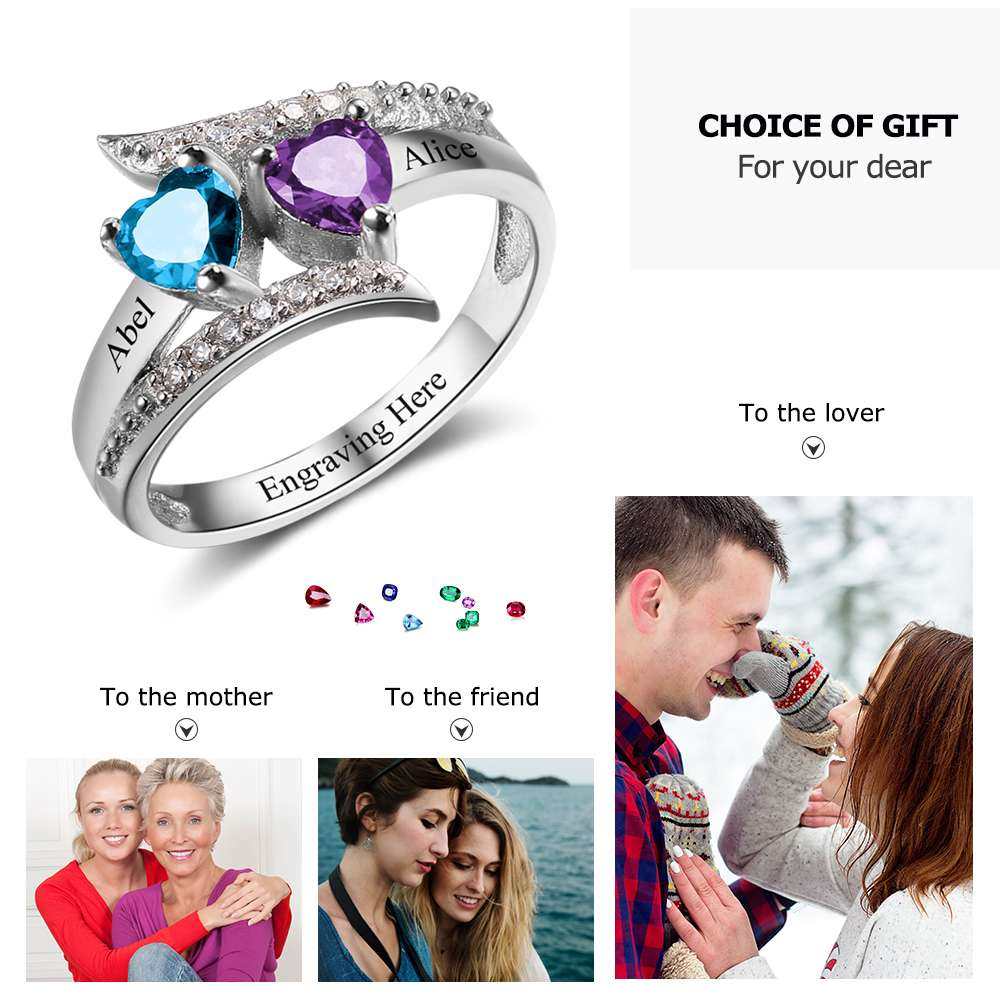 Argent 925 noms Pierre de naissance FEMMES ANNEAU personnalisé Promise Ring Lover/'s Gifts