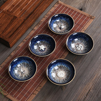 porcelain tea cup kiln change ceramic kungfu cup silver fish crab dragon pheonix carved Chinese cup of tea health for body new