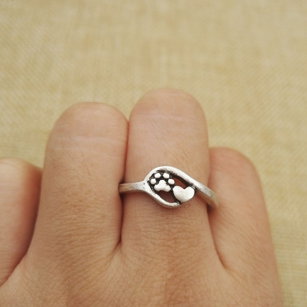 10pcs vintage tiny charm jewelry close to my heart ring small dog and cat paw print d heart adjustable dog rings sanlan - Small Wedding Rings