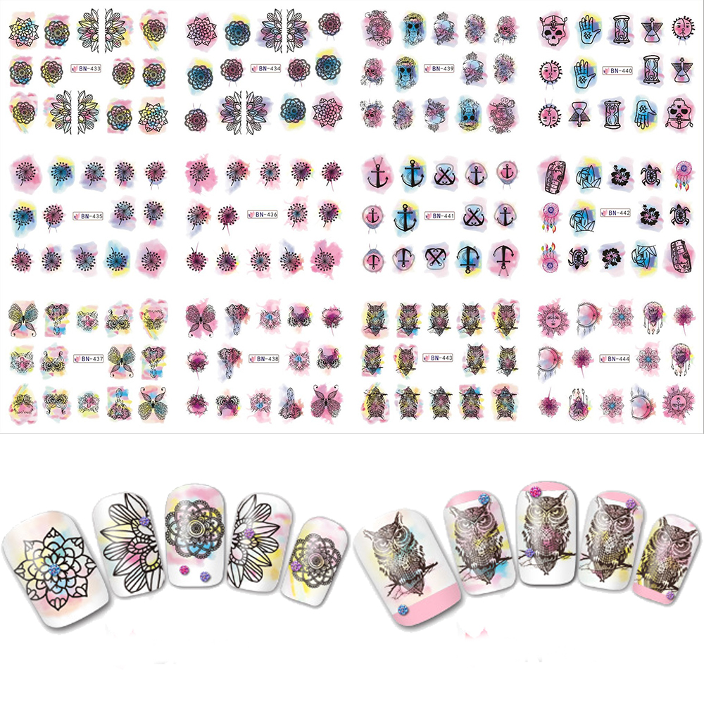 12pcs Mixed Watercolor Beauty Sets Nail Art Sticker  Water Transfer Full Flowers Oil Slider DIY Decals BN433-444 160designs 100pcs lot hot water transfer nail art stickers full cover flowers cartoon diy beauty nail decals decoration