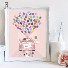 Bride Groom Standing On Wedding Pink Car Canvas Paintings Free Name Date DIY Fingerprint Signature Guesbtook For Wedding Decor wedding balloon canvas print diy fingerprint signature guestbook for wedding bride groom custom name date party decor