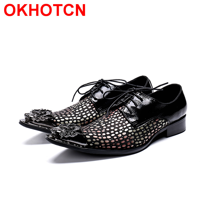 Magnificent Dot Wedding Zapatos Hombre Patchwork Leather Mens Dress Shoes Metal Toe Lace Up Oxford Shoes For Men Formal Shoes klywoo brand new simple style men dress shoes leather breathable lace up oxford shoes for men fashion oxford zapatos hombre