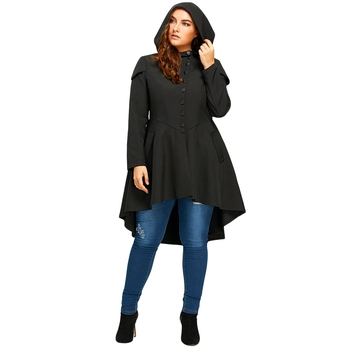 Trendy Plus Size Lace Up High Low Hooded Coat Outwear
