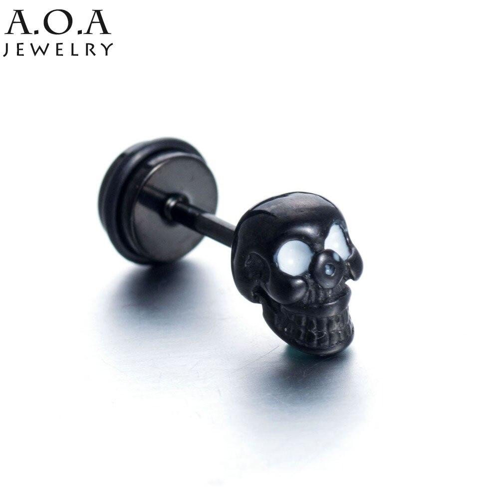 Hip-Hop Stainless Steel Skeleton Stud Earrings Black Color Punk Rock Skull Earrings For Cool Men/Women