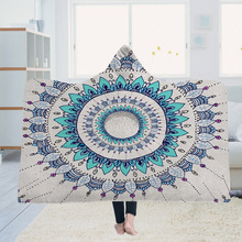 Yoga mat Hooded Blanket Cloak Magic Hat Thick Double-layer Plush 3D Digital Printing Mandala Flower Series