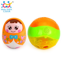 2pcs/Lot Baby Fitness Grasping Bebe Ball Infant Brinquedos Electric Music Toys 977 & Tumbler Doll Baby Toys 979