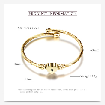 Adjustable Gold Color Stainless Steel Heart Bracelet Bangle With Letter Fashion Initial Alphabet Charms for Women 1