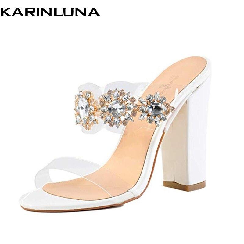b4bd18bd50327 43 De Mujer Sexy Cristales Marca Fiesta 2019 Plus Diseño Tamaño Karinluna  Blanco Tacones Altos Bombas Zapatos Mulas PXwtxn1BH